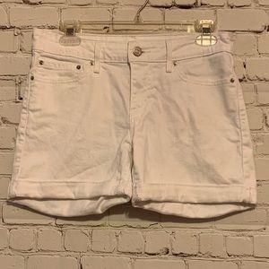 Levi's White Cuffed Denim Shorts